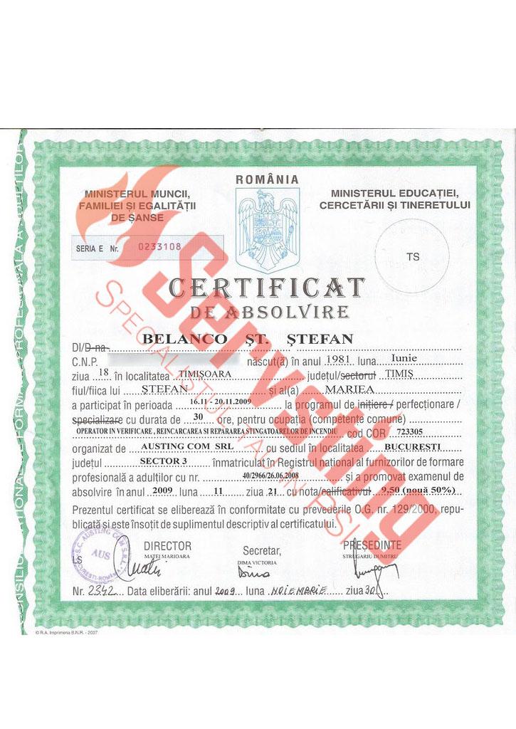 Specialisti cu autorizatii SSM si PSI - Certificat de Competenta Verificare si Reparare Stingatoare