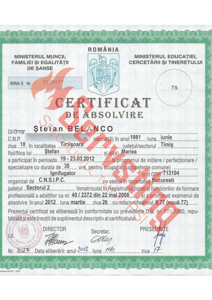 Specialisti cu autorizatii SSM si PSI - Certificat de Absolvire Ignifugator