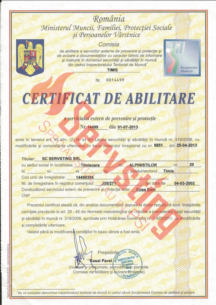 Specialisti cu autorizatii SSM si PSI - Abilitare Instruire Securitatea si Sanatatii in Munca