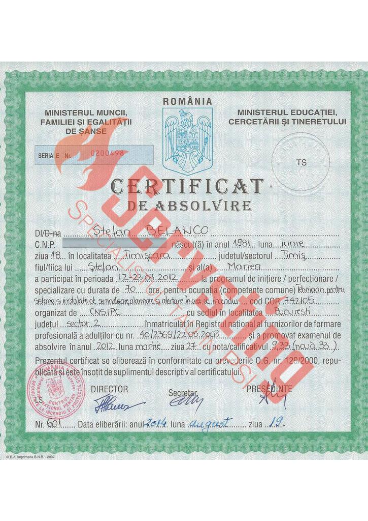 Specialisti cu autorizatii SSM si PSI - Certificat Competenta Tehnician Semnalizare Detectie