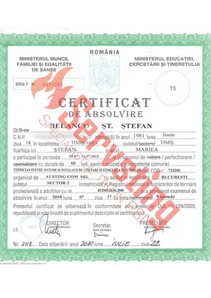 Specialisti cu autorizatii SSM si PSI - Certificat Tehnician pentru Sisteme Antiincendiu