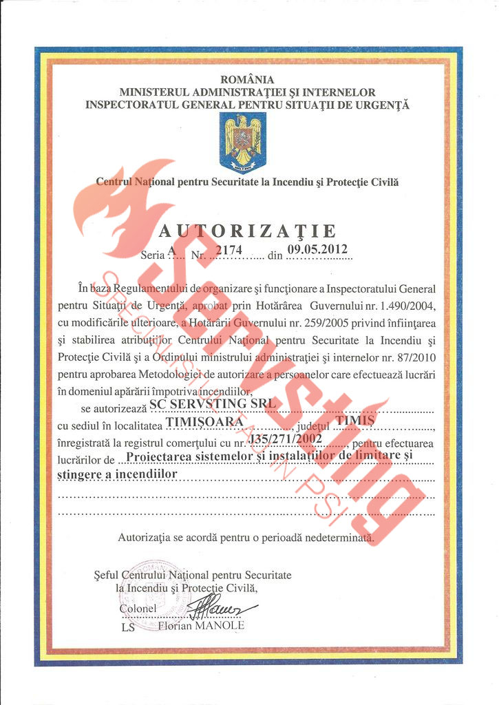 Specialisti cu autorizatii SSM si PSI - Autorizatie Proiectarea Sistemelor si Instalatiilor de Limitare si Stingere Incendii