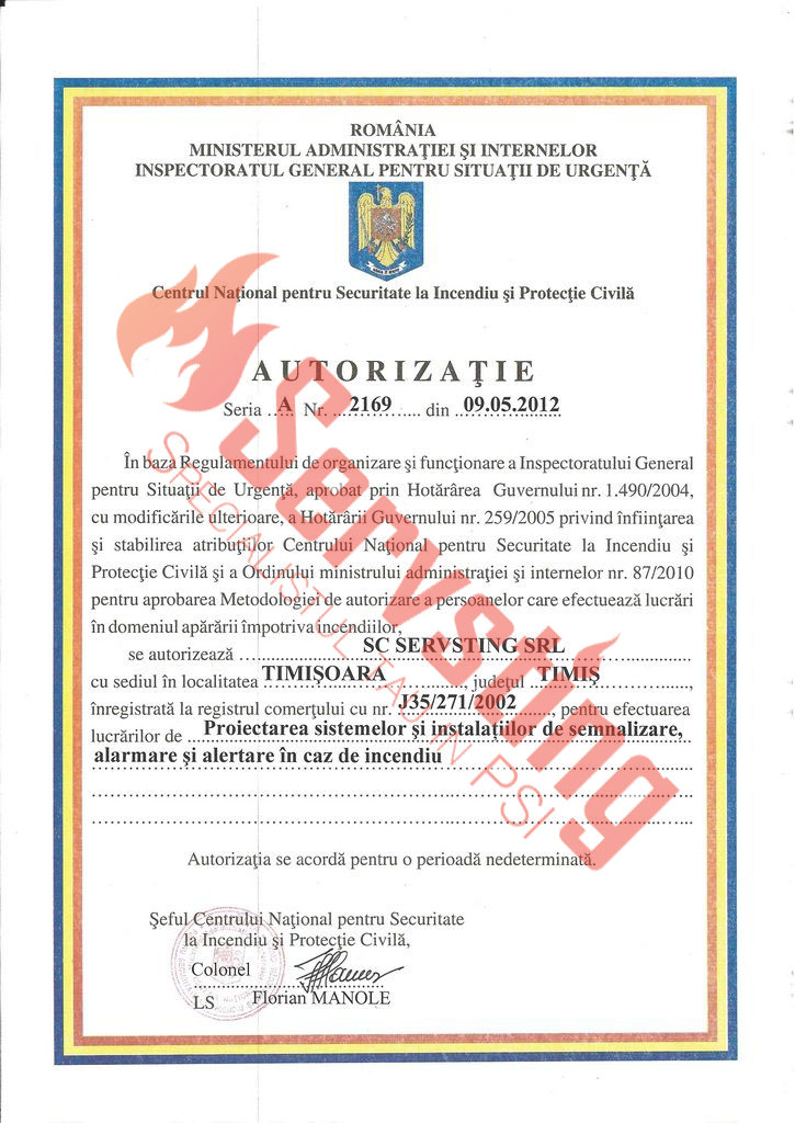 Specialisti cu autorizatii SSM si PSI - Autorizatie Sisteme Semnalizare si Alarmare Incendiu