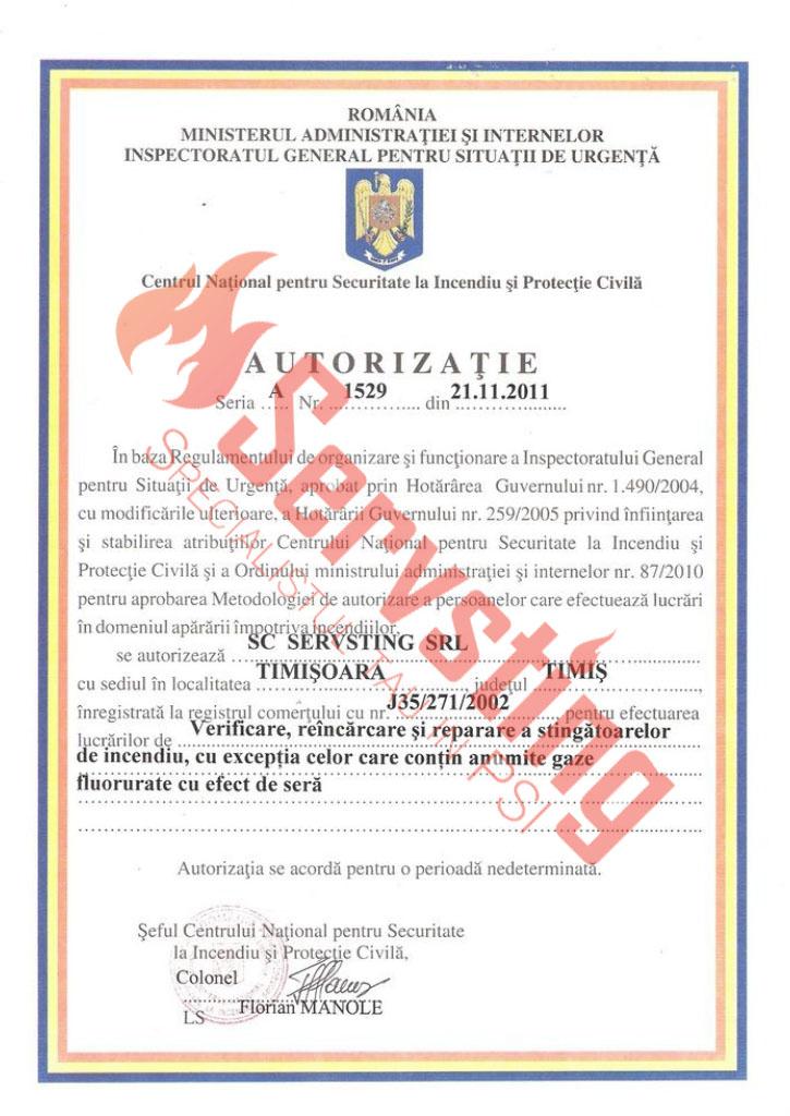Specialisti cu autorizatii SSM si PSI - Verificare Reincarcare si Repararea Stingatoarelor de Incendiu